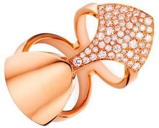 Akillis Python 18K Rose Gold & Diamond Double-Band Ring
