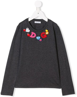 Dolce & Gabbana Bead Logo Embroidered Top