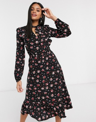 Stradivarius floral midi dress with neck tie in black