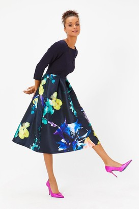 Coast Solid Bodice Full Midi Dress