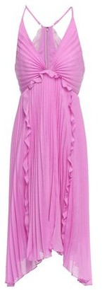 Halston Asymmetric Ruffle-trimmed Plisse-voile Dress