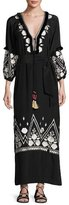 Figue Lola Embroidered Silk Maxi Dress, Black