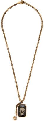 Alexander McQueen Gold Skull Gem Necklace