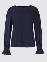 M&S Collection Round Neck Poplin Sleeve T-Shirt