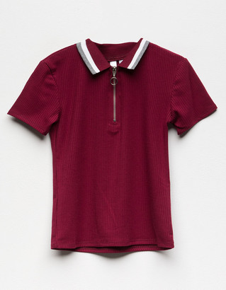 White Fawn Ribbed Zip Front Girls Polo Shirt