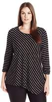 NY Collection Women's Plus Size Ruched Long Sleeve Boat Neck Asymmetical Point Hem Stripe Top