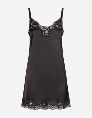 Dolce & Gabbana Satin Lingerie Slip Dress With Lace