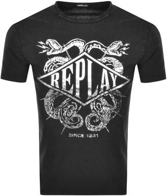 Replay Crew Neck Logo T Shirt Grey