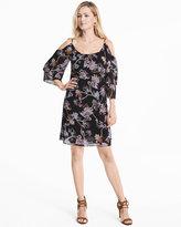 White House Black Market Cold-Shoulder Floral Shift Dress