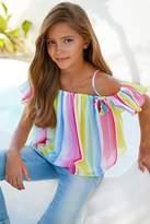 Mayoral Candy-Stripe Chiffon Blouse