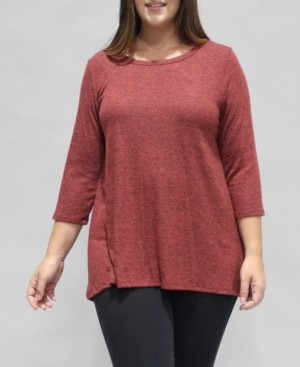 Coin 1804 Women's Plus Size 3/4 Sleeve Button Back Top