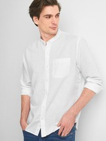 Gap Linen-cotton band collar standard fit shirt