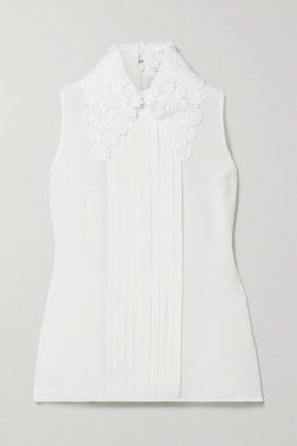 Andrew Gn Guipure Lace-trimmed Pintucked Silk-blend Crepe Blouse - White