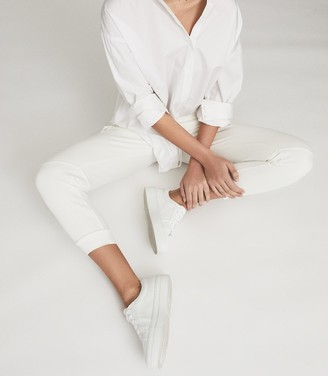 Reiss Luca - Platform Tumbled Leather Sneakers in White