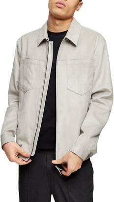 Topman Tommy Classic Fit Faux Suede Zip Shirt Jacket
