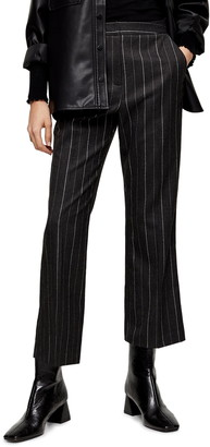 Topshop Pinstripe Crop Kick Flare Trousers
