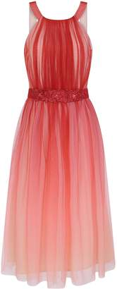 Dorothy Perkins Womens **Little Mistress Coral Mesh Trim Skater Midi Dress, Coral