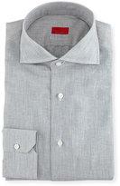 Isaia Solid Linen-Cotton Dress Shirt, Light Gray