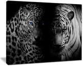 "Design Art Usa ""Leopard and Tiger in Black"" Animal Digital Art Canvas Print"