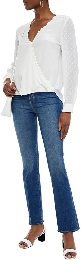 Thumbnail for your product : L'Agence Perry Wrap-effect Fil Coupe And Silk Crepe De Chine Top