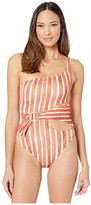 Vince Camuto Hammock Stripe One Shoulder Ring Wrap One-Piece (Papaya) Women's Swimsuits One Piece