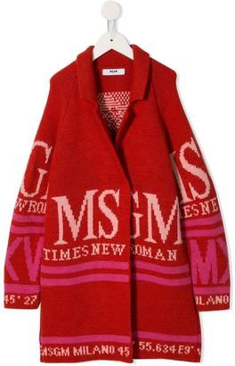 Msgm Kids Logo Intarsia Coat