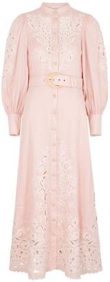 Zimmermann Freja Pink Embroidered Linen Maxi Dress