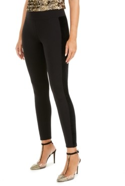 INC International Concepts I.n.c. Faux-Velvet-Accent Leggings, Created for Macy's
