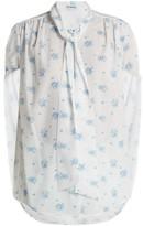 Balenciaga Twisted-sleeve Floral-print Crepe Blouse - Womens - Multi