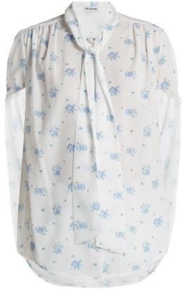 Balenciaga Twisted-sleeve Floral-print Crepe Blouse - Multi