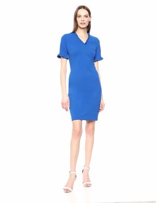 Calvin Klein Women's Short Sleeve V Neck Sheath with Ruffle Detail Dress