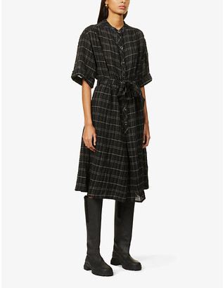 Sessun Loevan tartan-pattern woven midi dress