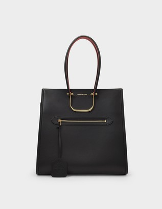 Alexander McQueen The Tall Story Tote Bag in Black and Red Smooth Leather