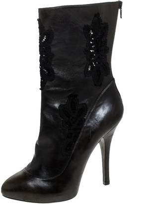 Dolce & Gabbana Two Tone Leather And Black Lace Mid Calf Boots Size 39