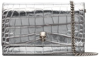 Alexander McQueen Skull Crocodile-Effect Patent Leather Mini Bag