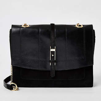 River Island Black leather buckle front cross body bag