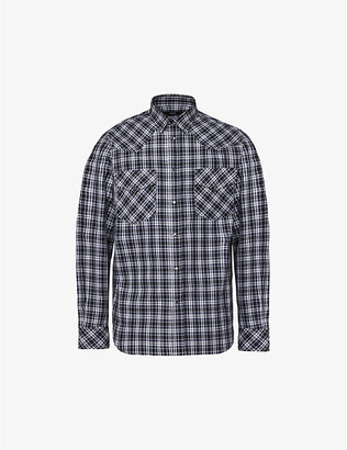 Diesel S-EAST-LONG-O checked cotton shirt