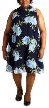 Robbie Bee Plus Size Sleeveless Floral-Printed Dress