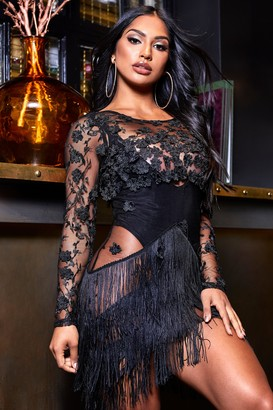 boohoo Sheer Bodycon Embellished Mini Dress