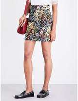 Sandro High-rise floral-jacquard skirt