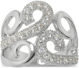SPARKLE ALLURE Silver-Plated Crystal Swirl Ring