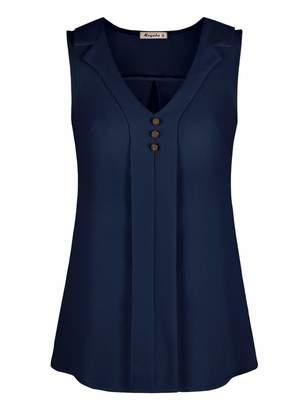 Moyabo Work Blouse Business Casual Women Tops Sleeveless Button Down Chiffon V Neck Tank Blouse Tops Navy Blue Small