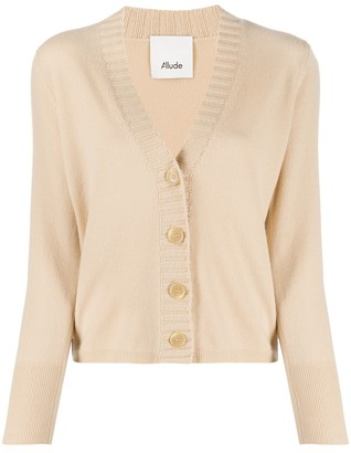 Allude Ribbed Trim Button-Up Cardigan
