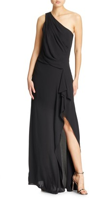 Halston One-Shoulder Drape Gown