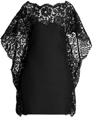 Valentino Crepe Lace Cape Dress