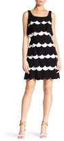 Julia Jordan Sleeveless Scalloped Crepe Sheath Dress