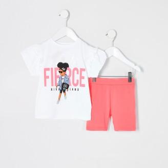 River Island Mini girls White 'Fierce' T-shirt outfit