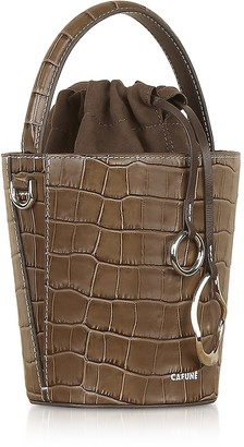 Croco Cafuné Walnut Embossed Leather Mini Bucket Bag