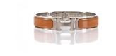 Hermes Terracotta Enamel Silver Narrow Clic Clac PM Bracelet