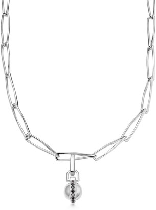 Missoma Silver Black Pave Sphere Pirouette Chain Necklace